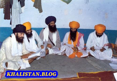 Left to Right: Bhai Dhanna Singh, Bhai Gurdev Singh, Bhai Aroor Singh, Wassan Singh Zaffarwal & Baba Gurbachan Singh