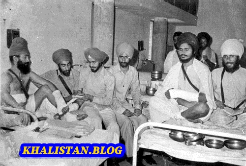 Shaheed Baba Gurbachan Singh Manochahal recovering in hospital (2nd from right)