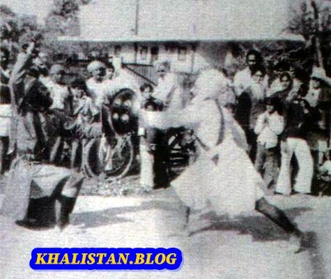 Shaheed Bhai Fauja Singh playing gatka